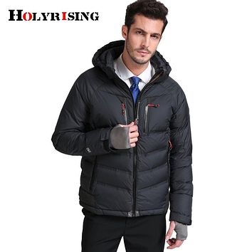Holyrising winter down jacket men warm New Fashion brand clothing Top quality Male % White duck down coat