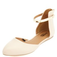 Gold-Plated Pointed Toe D'Orsay Flats