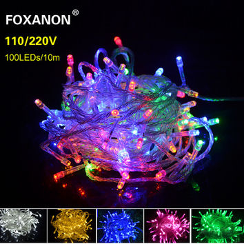 9 Colors 10M LED Strip light 220V Christmas Wedding Party Festival WaterProof Decoration 100 LEDs String lamp Holiday Lighting