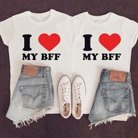EnjoytheSpirit I Love My Bff RED Heart for Adults Sister Tshirts Best Friend T Shirts Couple Shirts Matching Sister T Shirts