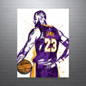 LeBron James Los Angeles Lakers Purple Poster