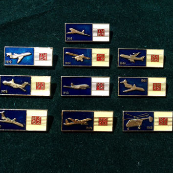 Set of 10 Soviet vintage AIRCRAFT pin ussr collectibles collector TY-154