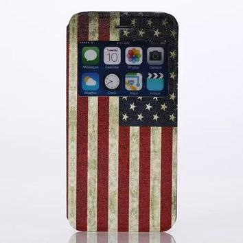America Flag Leather Case Cover for iPhone 6S 6 Plus Samsung Galaxy S6-170928