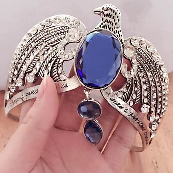 Ravenclaw Crown Horcrux Bridal Headbands Antique Silver Eagle Blue Crystal Wedding Hair Accessories