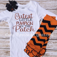 Cutest Little Pumpkin in the Patch custom Onesuit set, with leg warmers and bow. Orange and black chevron