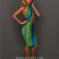 Green Leopard Print Halter Backless Bodycon Cutout Midi Dress