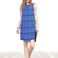 Banana Republic Womens Blue Square Jacquard Dress