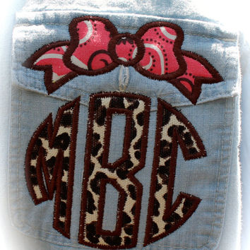 Women's Denim Shirt with Applique'  Bow Topper Monogram