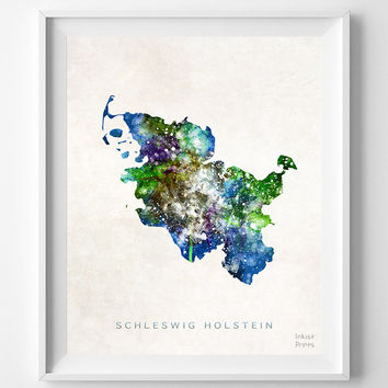 Schleswig Holstein Map, Germany, Print, Watercolor, German, Europe, Home Town, Poster, Country, Wall Decor, Painting, Bedroom, World