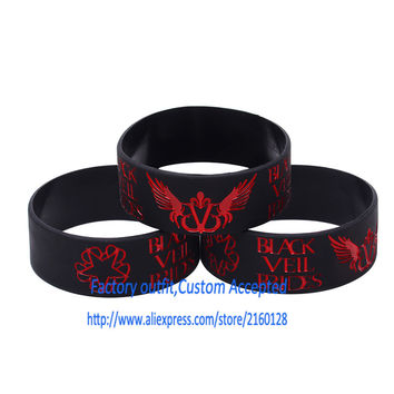 "1PC Black Veil Brides With Angel Wings Silicone Wristband Bracelet For Music Fans 1"" Wide Adult Size"
