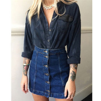 High Qualtiy Summer Style Denim Skirts 2016 Women Jean Miniskirt High Waist Package Hip Retro Short Pencil Skirt For Women