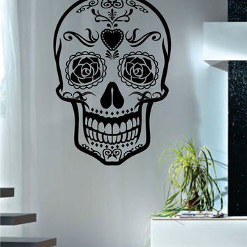 Sugar Skull Version 4 Art Decal Sticker Wall Vinyl