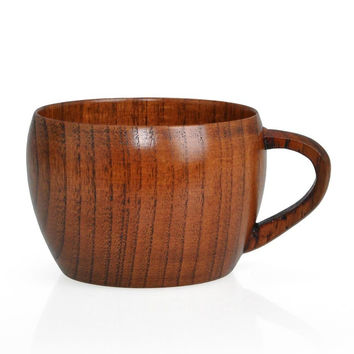 Zizyphus Jujube Wooden Boutique Retro Restaurant Tea Cups Pot-bellied Coffee Cup Gift E2shopping