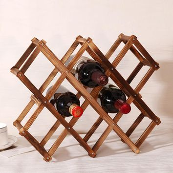 1Pcs High Quality New Solid Wood Folding Wine Racks Foldable Wine Stand Wooden Wine Holder 10 Bottles Kitchen Bar Display Shelf