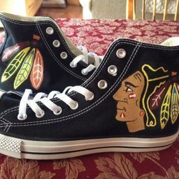 DCCK1IN womens chicago blackhawks converse hand painted