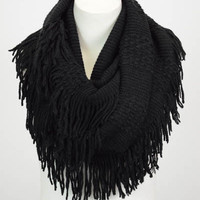 Pointelle Fringe Infinity Scarf (Black) - Piace Boutique