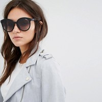 Quay Australia High Tea Round Sunglasses In Black at asos.com