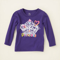 baby girl - graphic tees - princess crown graphic tee | Children's Clothing | Kids Clothes | The Children's Place