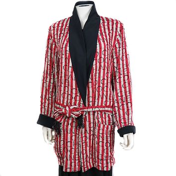 Chanel Red Long Striped Robe Coat from a Recent Collection