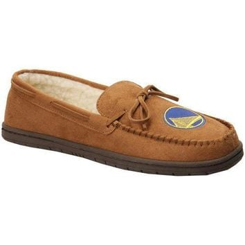 NBA Golden State Warriors Moccasin Slipper Tan