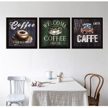 Painting Calligraphy Modular Picture Oil Painting on Canvas Still Life Caffee for Dining Room Bedroom Art Work for Wall 3pcs