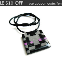 Minecraft Enderman Necklace, Creeper Minecraft Necklace, Minecraft Jewelry, Box Square Pendant, Hand Painted Jewelry