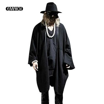 Men loose cardigan coat street punk style trench jacket Male outwear fashion batting sleeve cardigan Casual tops K391