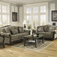 Ashley Furniture 57300-38-35 2 pc martinsburg collection meadow fabric upholstered sofa and love seat set with rounded arms and wood trim