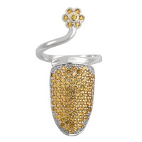Golden Yellow on Silver Pave Nail Ring *Limited Quantities*