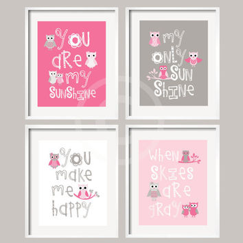 You Are My Sunshine - Owl Art - Pink and Gray -  5x7 - baby shower gift, for boy or girl