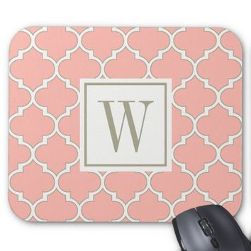 Girly Coral Modern Moroccan Quatrefoil Monogram Mouse Pad