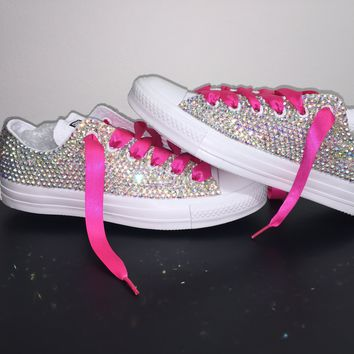 All Star Mono White Converse Bedazzled In AB Crystals Hot Pink Laces