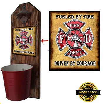"""Firefighter"" Hero Bottle Opener and Cap Catcher - Handcrafted by a Vet - 100% Solid Pine 3/4"" Thick - Rustic Cast Iron Bottle Opener and Galvanized Bucket - To empty, twist the bucket! Great Gift!"