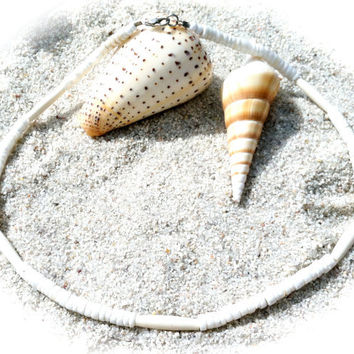 Puka Clam Shell and Bone Bead Necklace Free Shipping in US