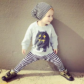 Boys Sport Suits Owl Long Tees Pants Toddler Boy Clothing Set Kids Casual Clothes Outfits