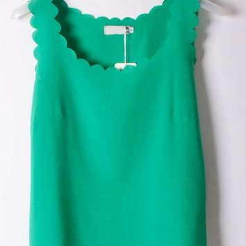 Scallop Sleeveless Semi-sheer Chiffon Top