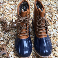 Bean Boots / Fall Fashion Duck Boots / Monogram Boots / Rainboots / Navy / Tan Rain Boots
