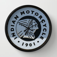Indian Motorcycle Emblem Wall Clock by Veronica Ventress