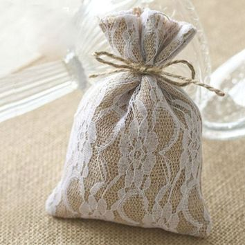 ONETOW Lace Burlap Gift Bags 10x15cm (4'x6') Hessian Drawstring Pouches Rustic Wedding Party Favor Holders