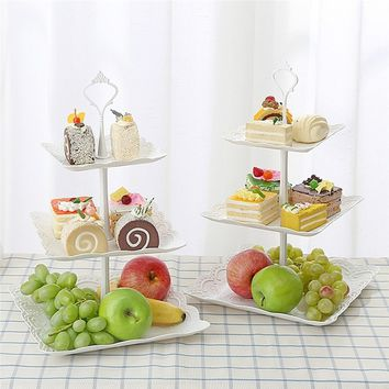 3 Tiers Cake Display Stand and Fruit Plate Elegant Afternoon Tea Party Serving Platter