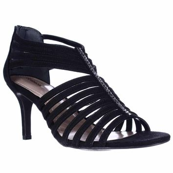 SC35 Shaynaa Strappy Jeweled T-Strap Sandals, Black, 11 US