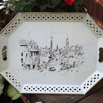 Bar Tray, Vintage Metal Tray, Large Serving Tray, Trafalgar Square London England, Vintage Nashco Tray, Handpainted Tray, Large Tin Tray