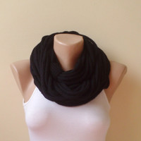 Black  infinity scarf chain scarf circle scarf loop scarf cozy scarf woman accessory gift