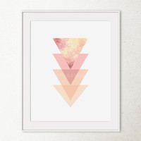 Pink Geometric Art Print, Geometric Wall Print, Printable Art Pink Triangles Geometric Printable Wall Art, Abstract art print, Bedroom Decor
