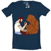 Arm Wrestling T-Shirt, Men's Tee, Beard vs. Bear