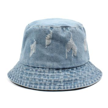 2018 Women Men Bonnie Bucket Hat Denim Distressed Brim Visor Sun Shade Fishing Packable Summer Cap K Pop Summer Fisherman Hat