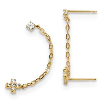 14k Madi K Double Post with Chain CZ Cross Earring