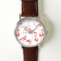 Flamingo Watch Women Watches Leather Unique Jewelry Accessories Handmade Boyfriend Gift Idea Spring Unique Custom Ladies Birds Trendy