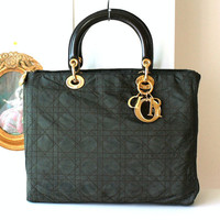 Authentic Christian Dior Italy Quilt Fabric Tote Medium handbag