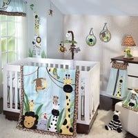 Lambs & Ivy Peek A Boo Jungle 4-pc. Crib Set (Blue)